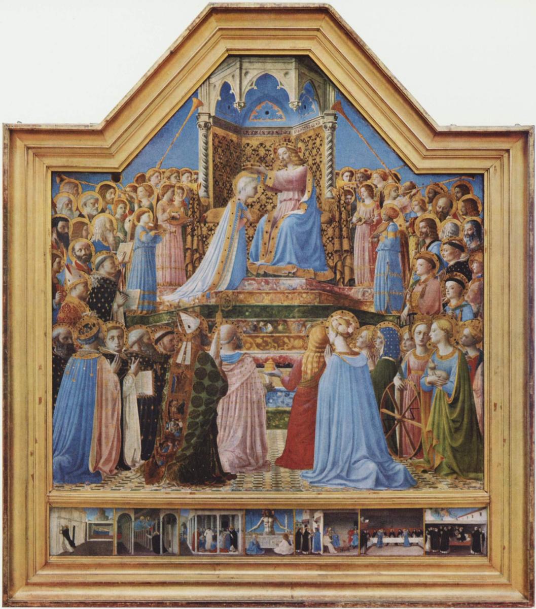 "Fra Beato Angelico. Altar of San Domenico ""Coronation of the Virgin"""