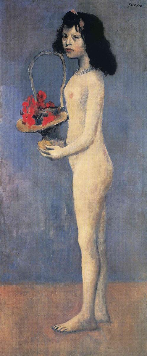 Пабло Пикассо. Молодая обнаженная девушка с цветочной корзиной