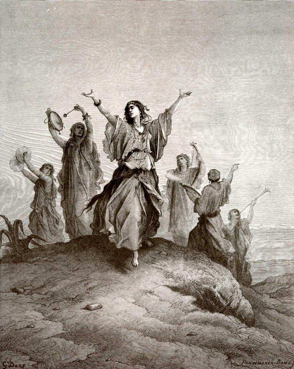 Поль Гюстав Доре. Иллюстрация к Библии: дочь Иеффая выходит навстречу отцу