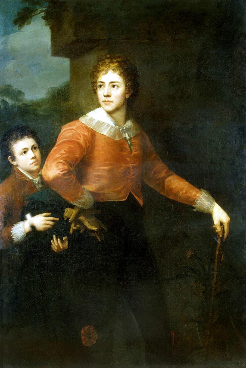 Джордж Сандерс. Двое юношей на фоне пейзажа