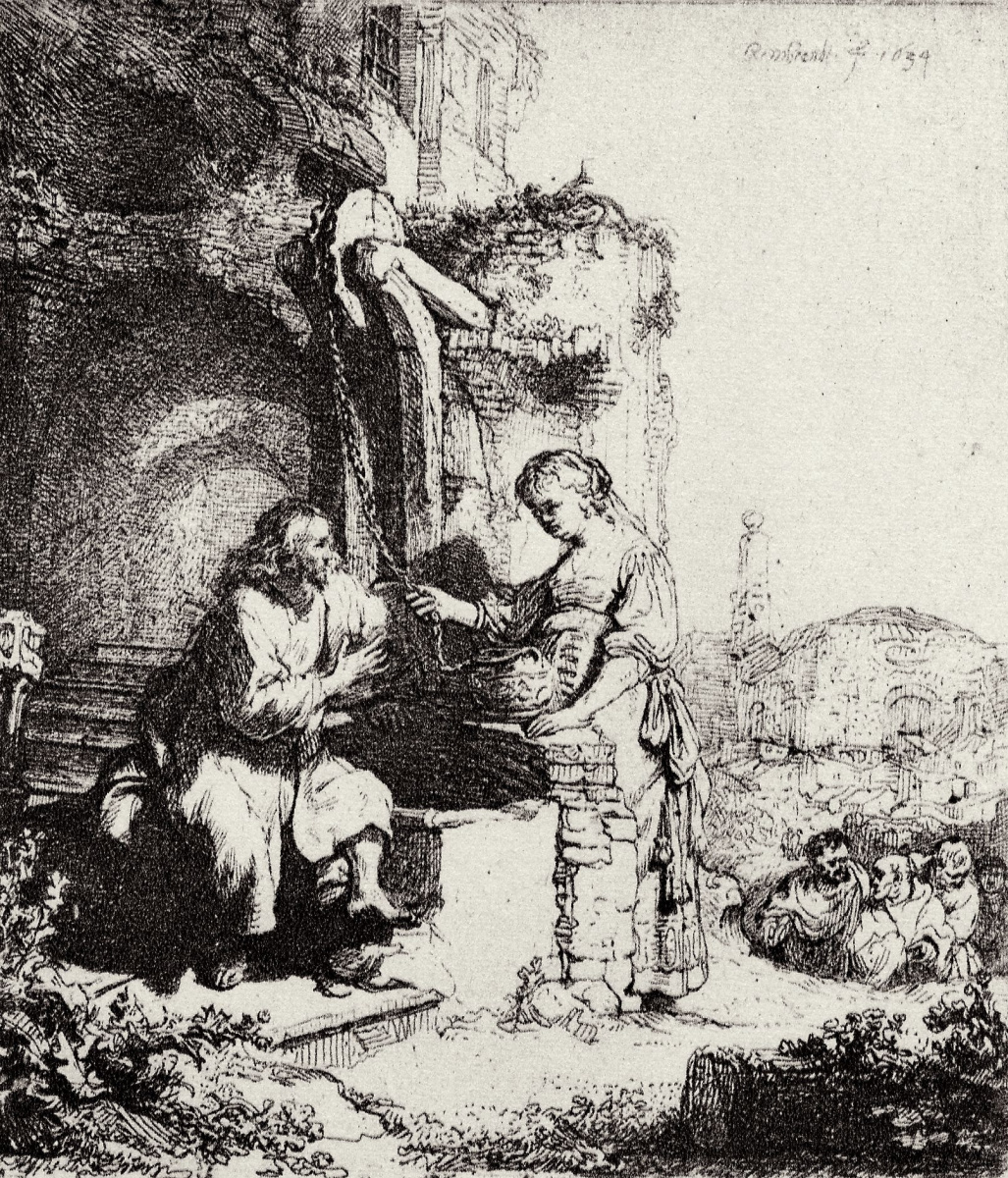 Rembrandt Harmenszoon van Rijn. Christ and the Samaritan woman