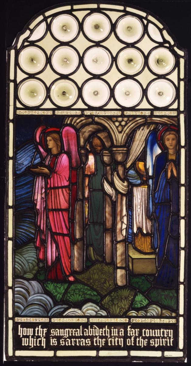 """Уильям Моррис. Витраж """"Ангелы, охраняющие Святой Грааль"""" (соавторство с Эдвардом Бёрн-Джонсом)"""