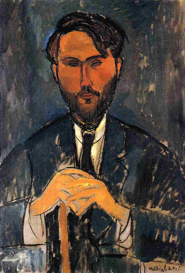 Amedeo Modigliani. Portrait of Leopold Zborowski with cane