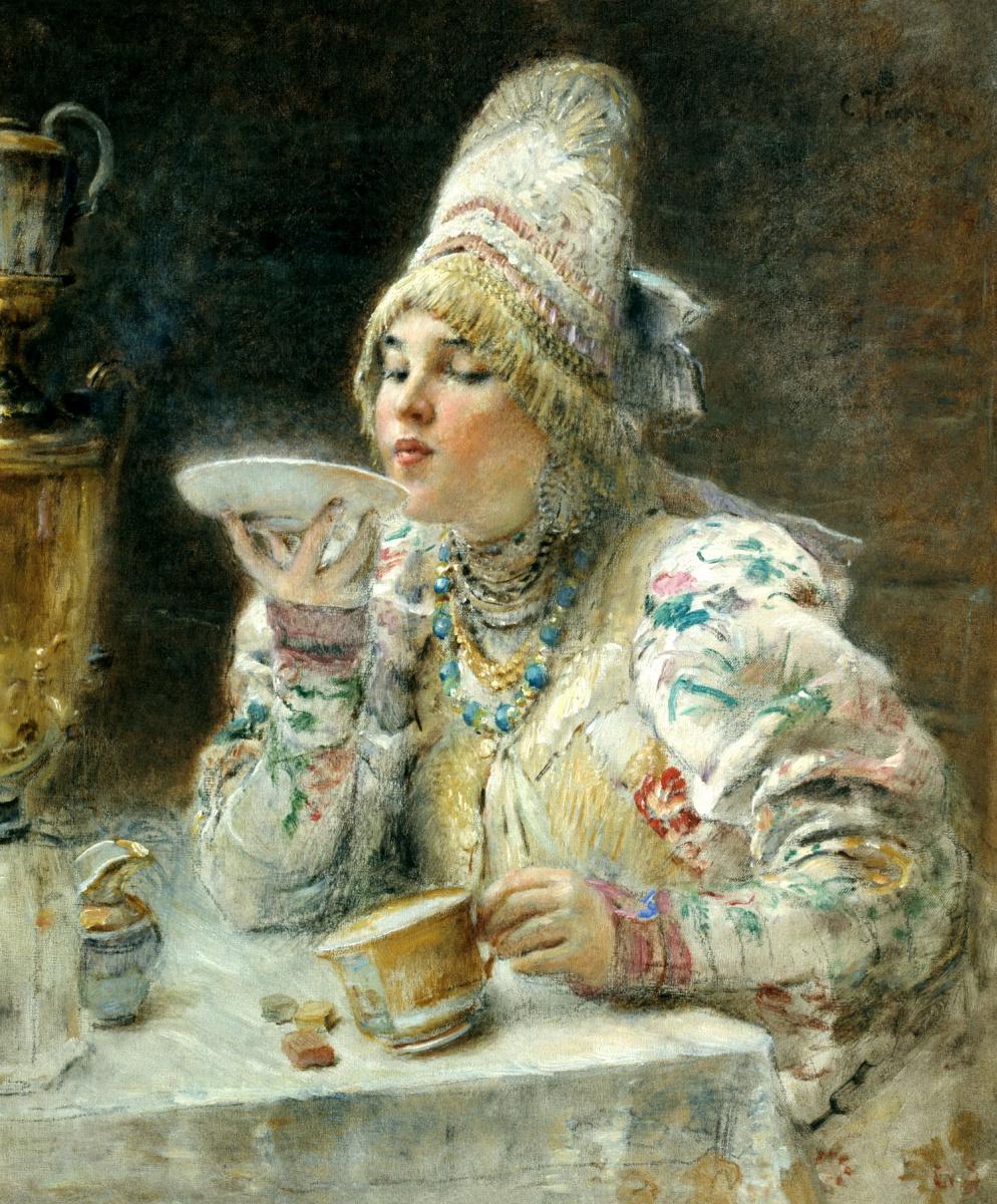Konstantin Makovsky. Having tea