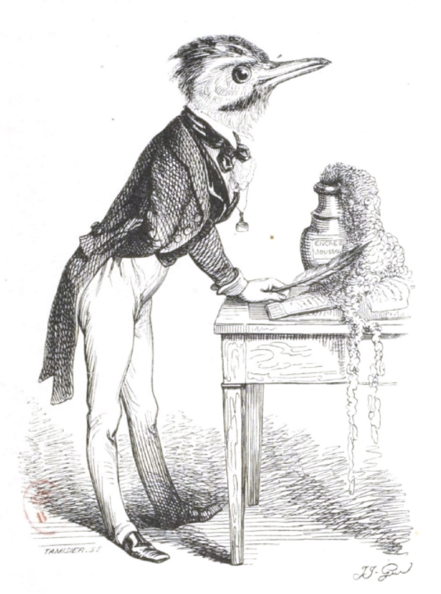 """Jean Inias Isidore (Gerard) Granville. I want to be a great scientist ... """"Scenes of public and private life of animals"""""""