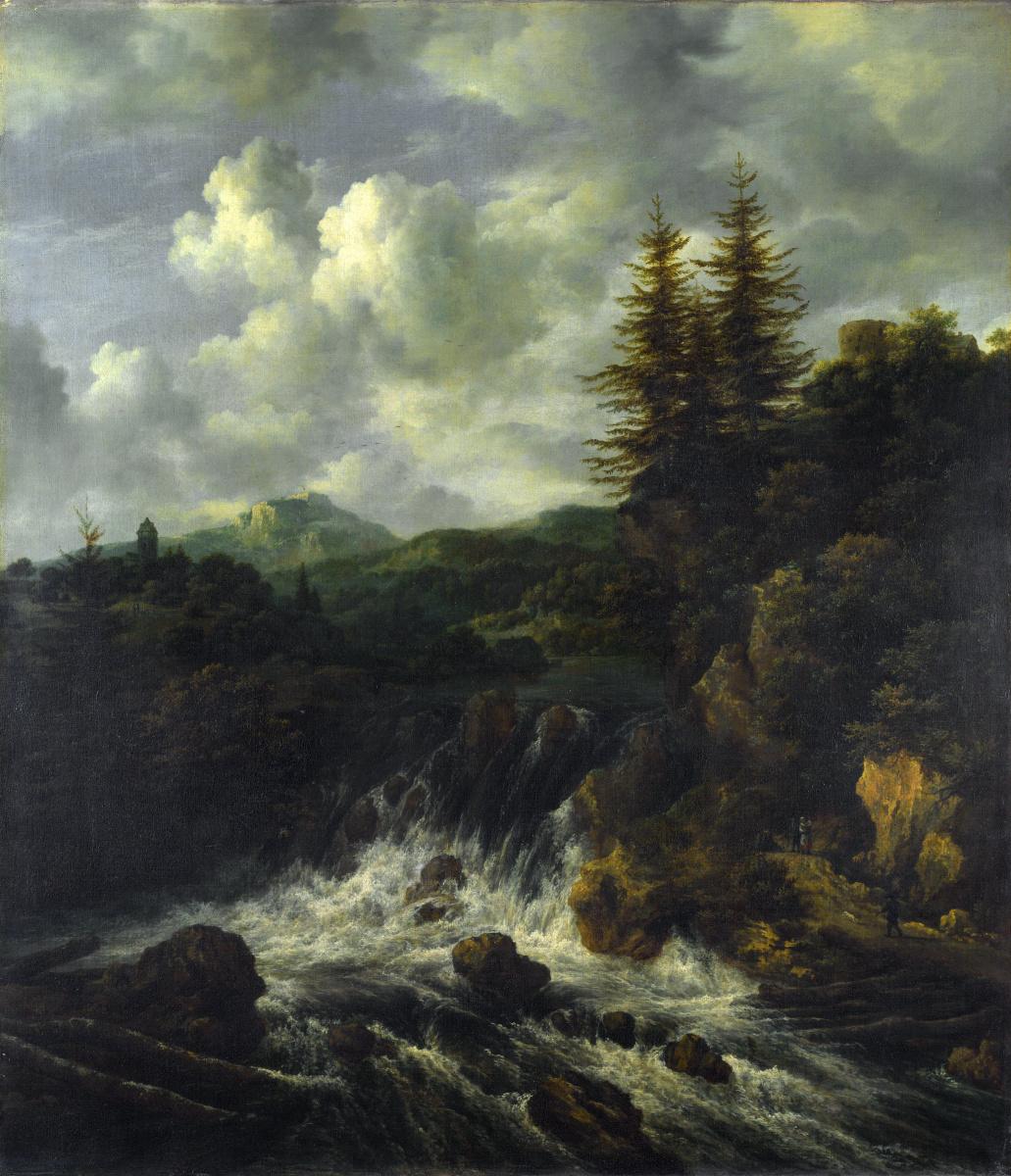 Якоб Исаакс ван Рейсдал. Пейзаж с водопадом и замоком на холме