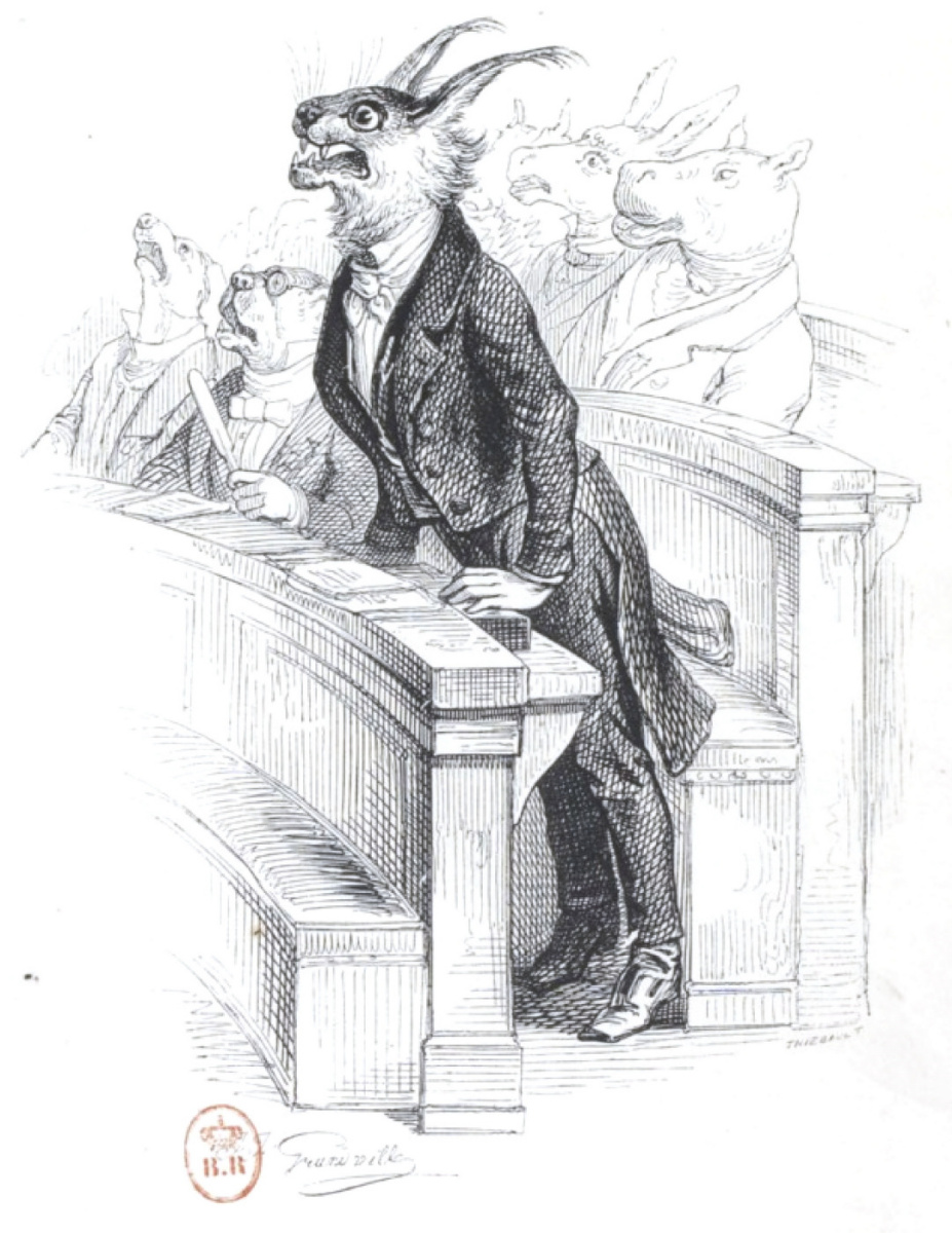 """Jean Inias Isidore (Gerard) Granville. Lynx: do not yelp, but bite. """"Scenes of public and private life of animals"""""""