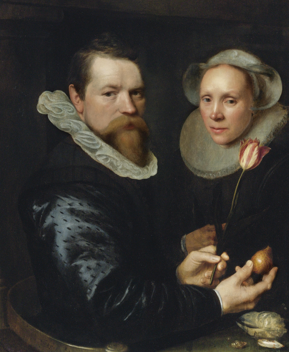 Janson Mihil van Mireveld. Portrait of married couple with tulip and bulb