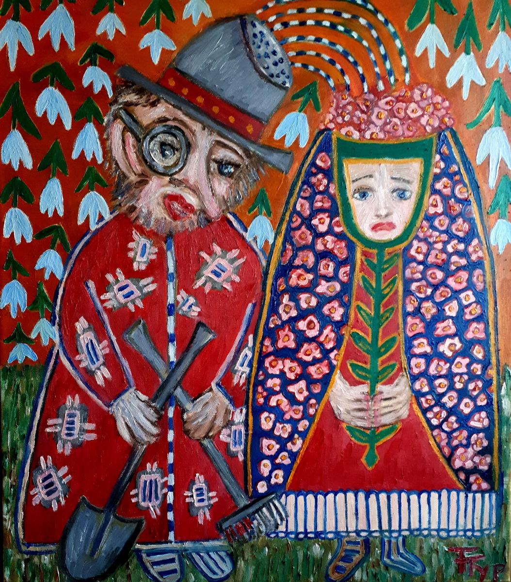 "Tatyana Turanova. Oil painting ""Wedding of the gardener and flower beds"""