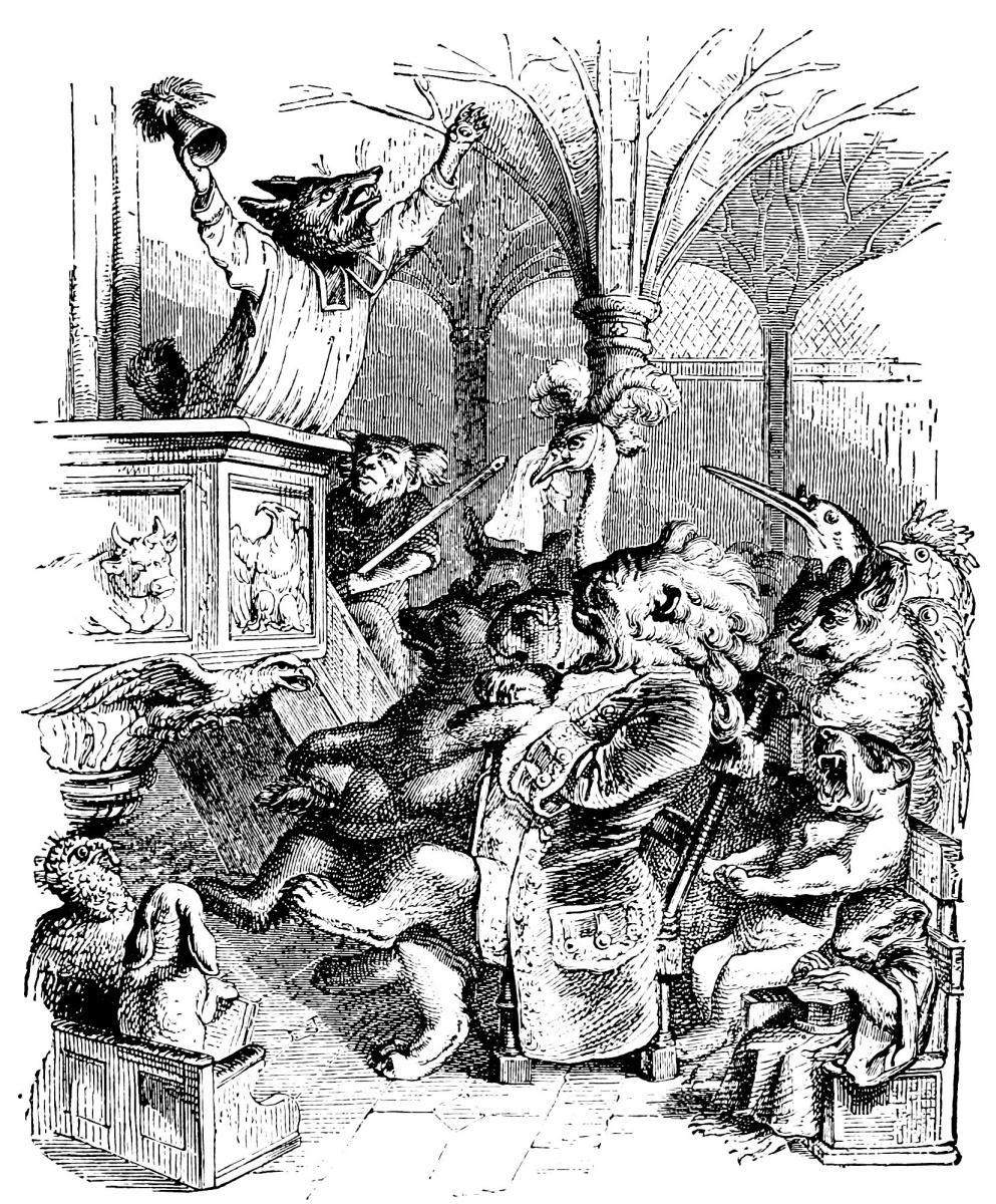 Жан Иньяс Изидор (Жерар) Гранвиль. Лис-проповедник. Иллюстрации к басням Флориана