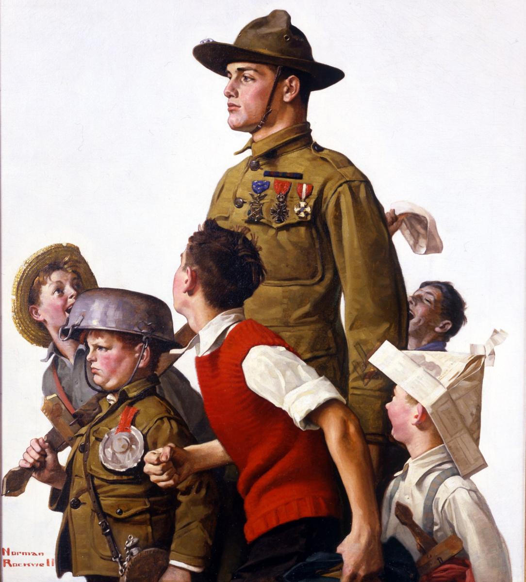 """Норман Роквелл. Добро пожаловать, герой! Обложка журнала """"The Saturday Evening Post"""" (22 февраля 1919 года)"""