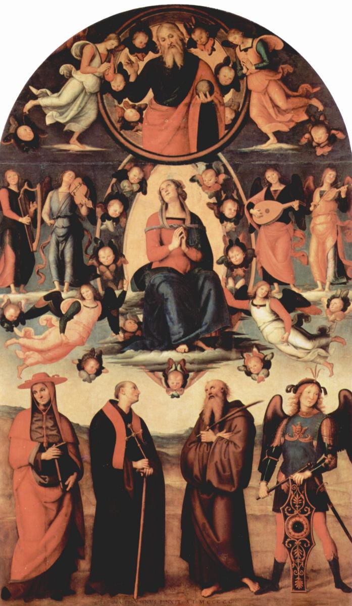 Пьетро Перуджино. Вознесение Марии и четыре святых