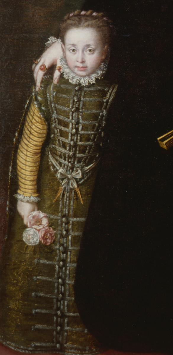 Sofonisba Angisola. Portrait of Juana of Austria with a pupil. Fragment II