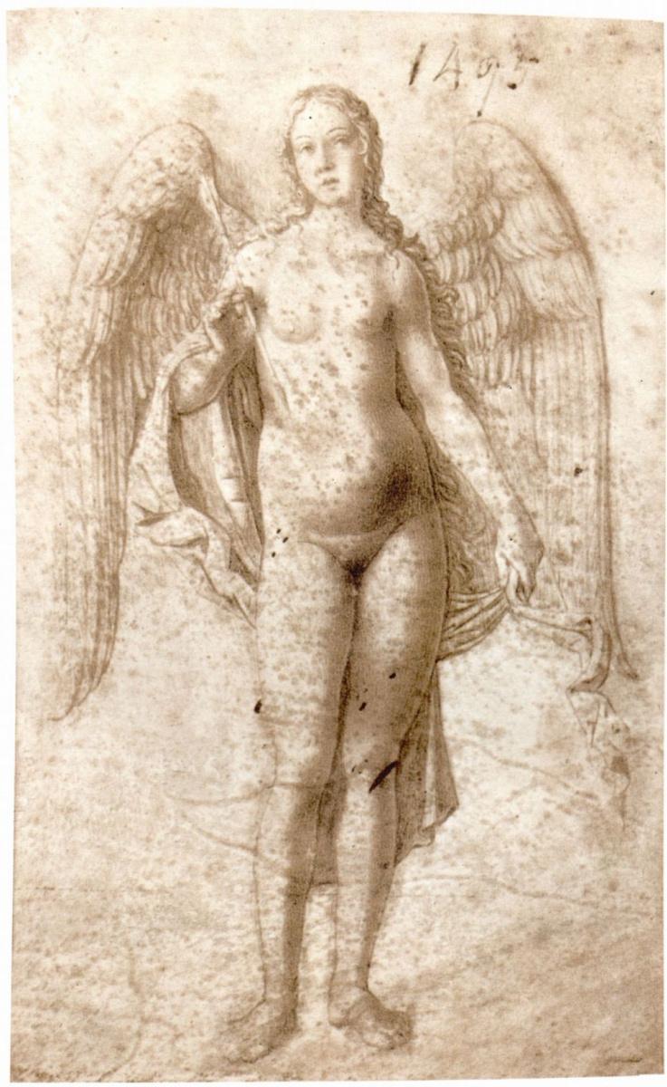 Джироламо Мочетто. Ангел в виде крылатой обнаженной женской фигуры со стрелой