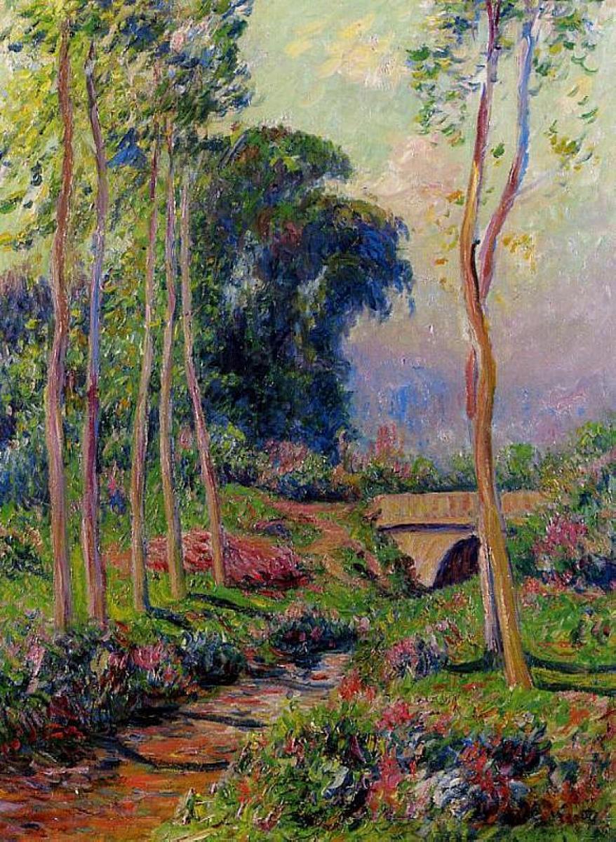 Henry Moret. A number of large poplars