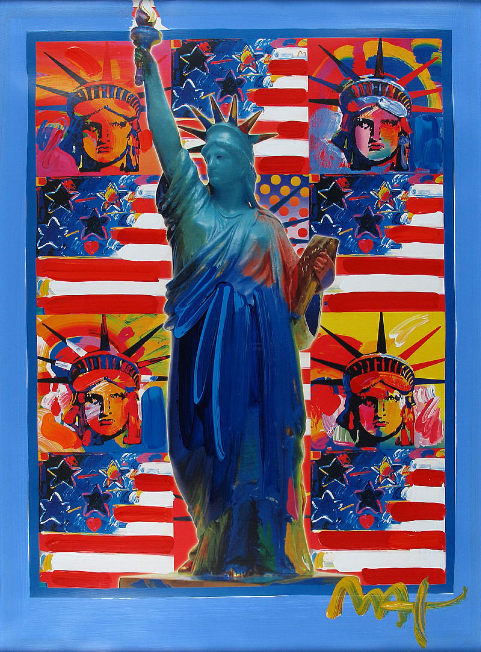 Питер  Макс. Бог благословил Америку пятью свободами