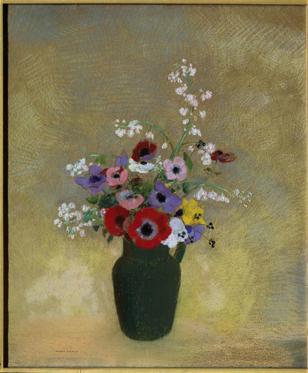 Одилон Редон. Большая зеленая ваза с смешанными цветами