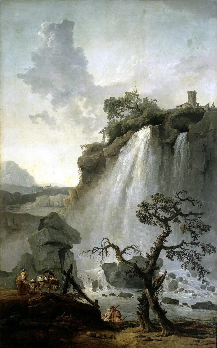 Гюбер Робер. Пейзаж с водопадом