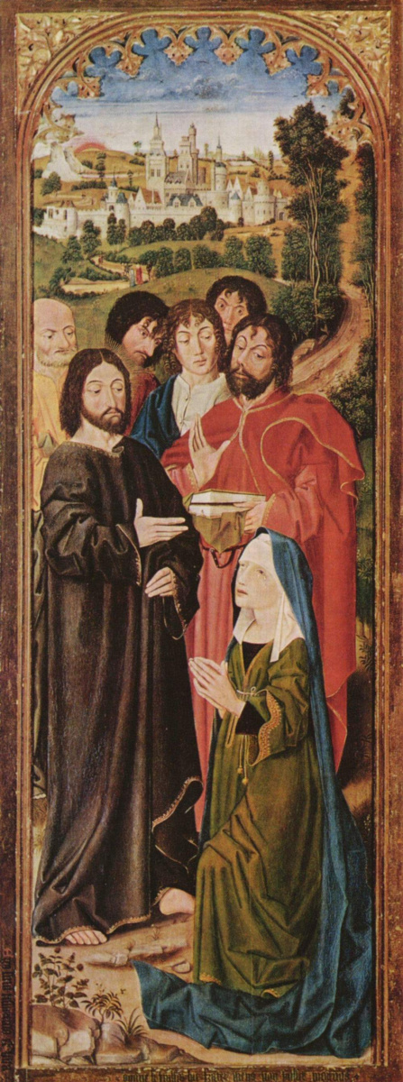 Никола Фроман. Воскрешение Лазаря, алтарный триптих, внутренняя сторона левой створки, сцена: Христос и св. Марта