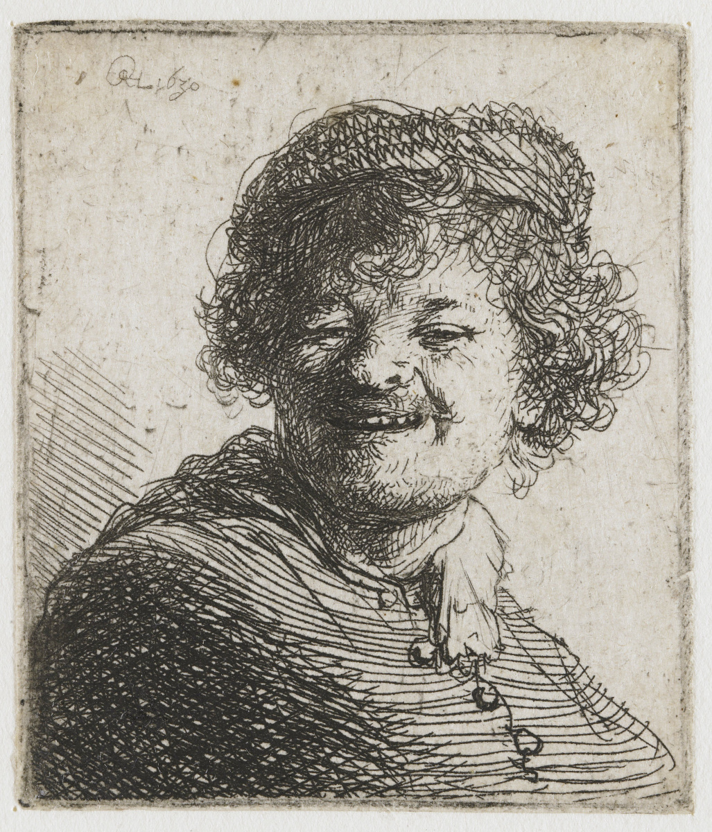 Rembrandt Harmenszoon van Rijn. The smiling self portrait of the artist in the hat