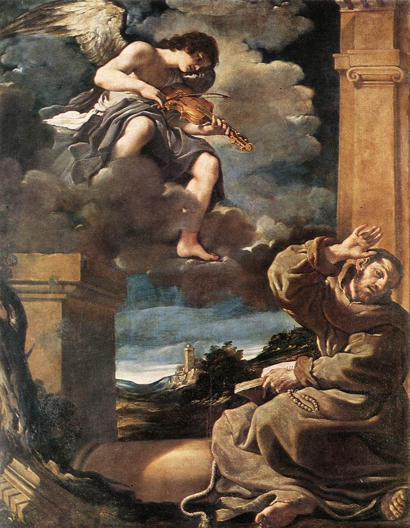 Giovanni Francesco Guercino. St Francis with an angel