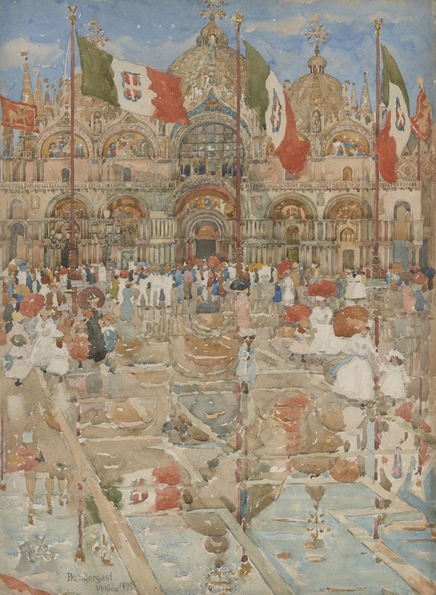 Морис Брэзил Прендергаст. Брызги дождя и солнца (Площадь Сан-Марко, Венеция)
