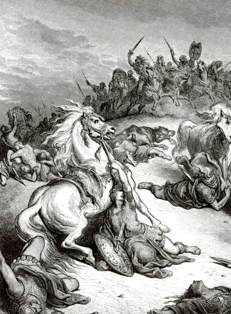 Поль Гюстав Доре. Иллюстрация к Библии: смерть Саула