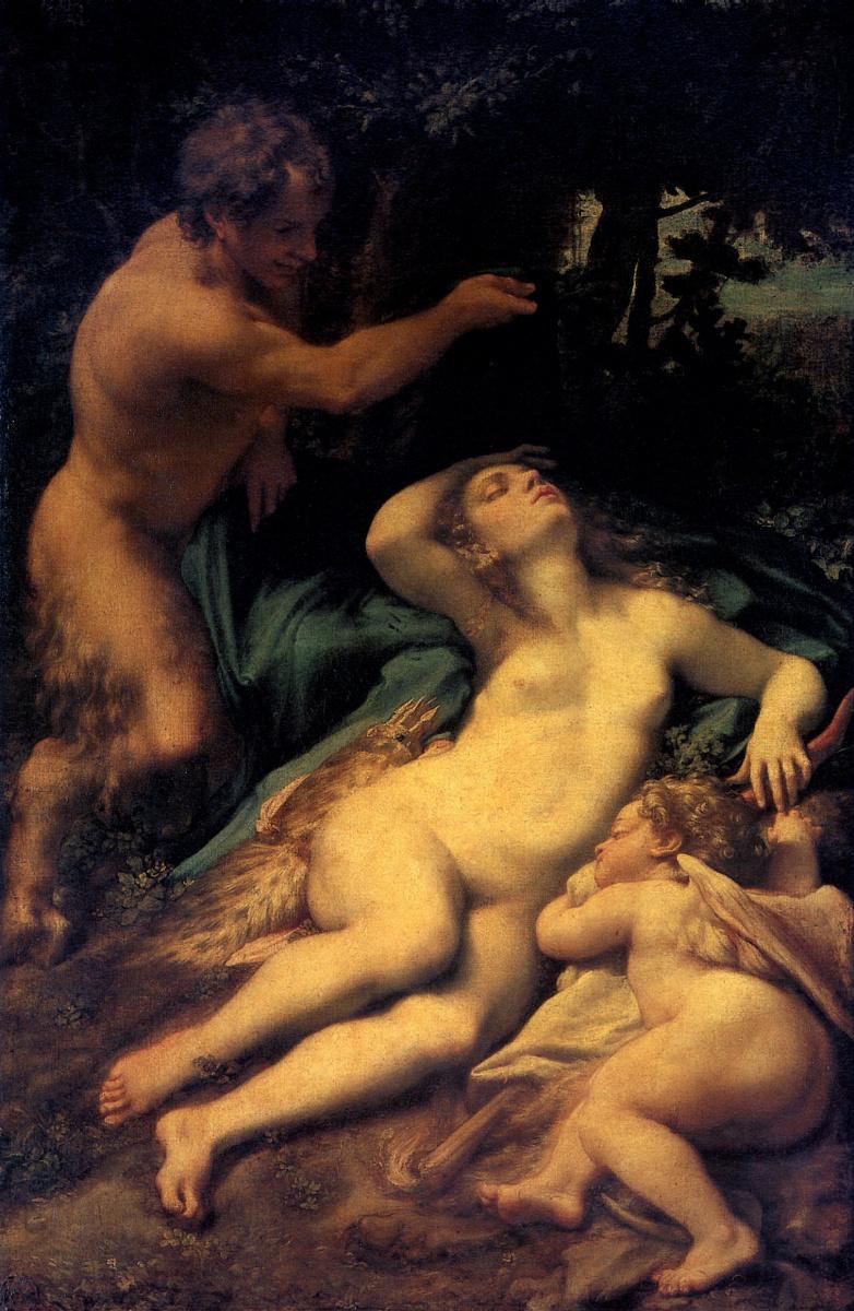 Аллегри Антонио. Венера, Сатир и Амур