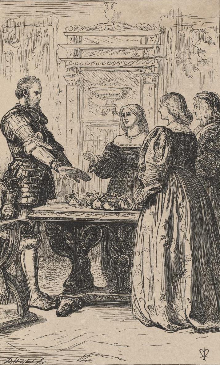 """Джон Эверетт Милле. Цена рыцаря. Иллюстрация для """"Сказок о рыцарской жизни"""", журнал """"Лондонское общество"""""""