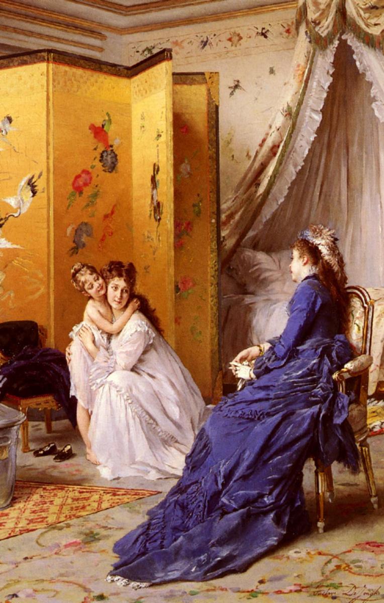 Леонард Густав де Джонгх. Мать с дочкой и дама в синем