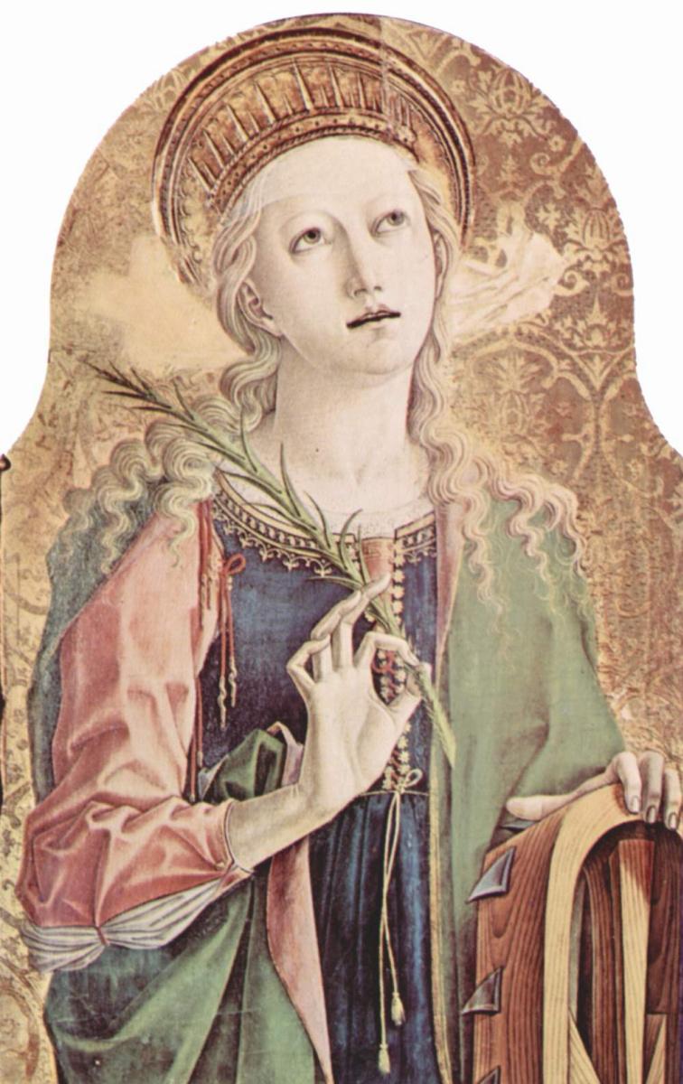 Карло Кривелли. Святая Екатерина Александрийская. Центральный алтарь кафедрального собора в Асколи, полиптих, внешнее левое навершие