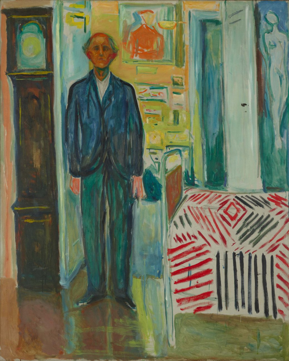 Edvard Munch. Self portrait between clock and bed