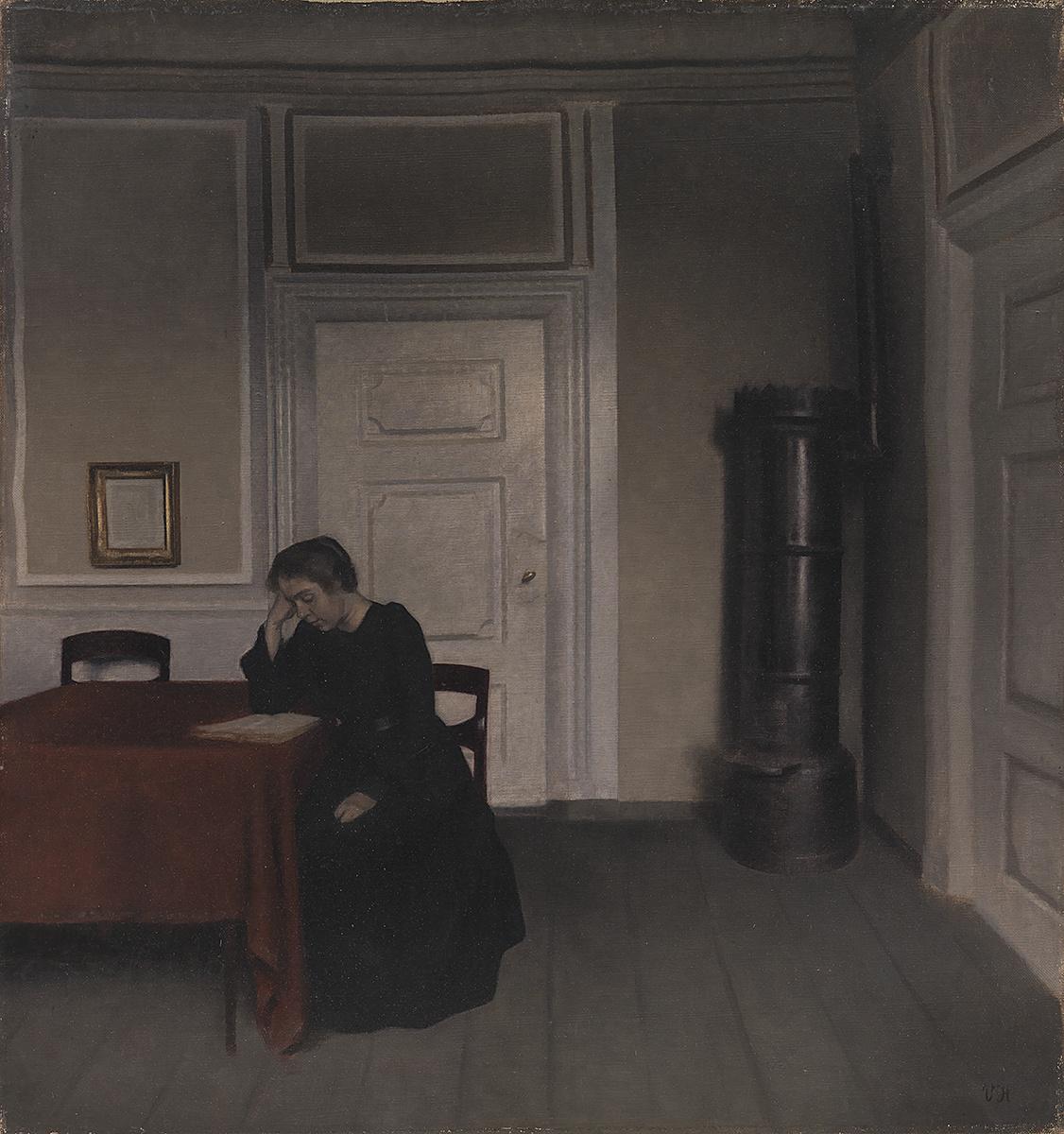 Вильгельм Хаммерсхёй. Интерьер гостиной в Страндгеде. Ида, читающая за столом