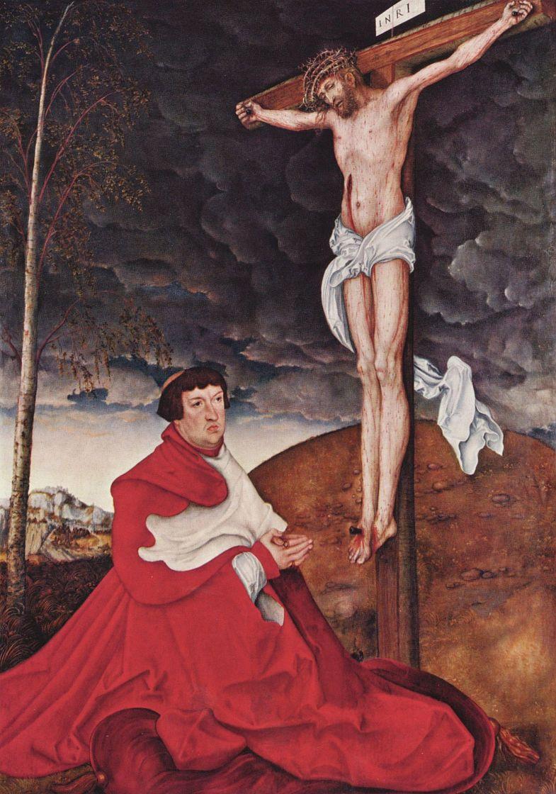 Лукас Кранах Старший. Распятие с коленопреклоненным кардиналом Альбрехтом фон Брандербургским
