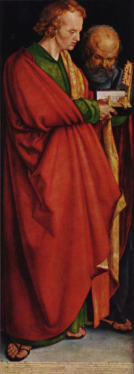 Альбрехт Дюрер. Четыре апостола левая часть, сцена: Святые Иоанн и Петр