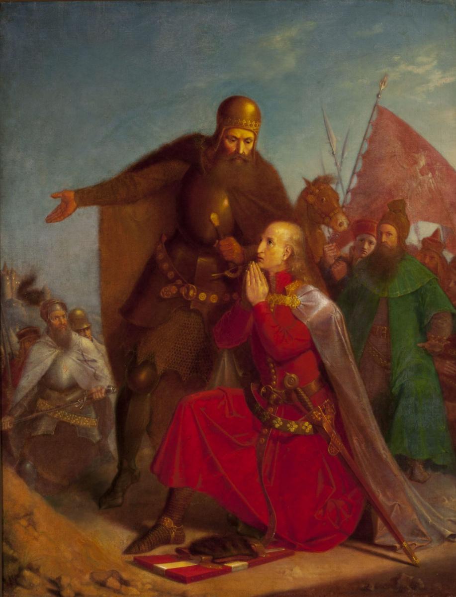 Ян Матейко. Владислав Ягелло с Витольдом молятся перед битвой при Грюнвальде