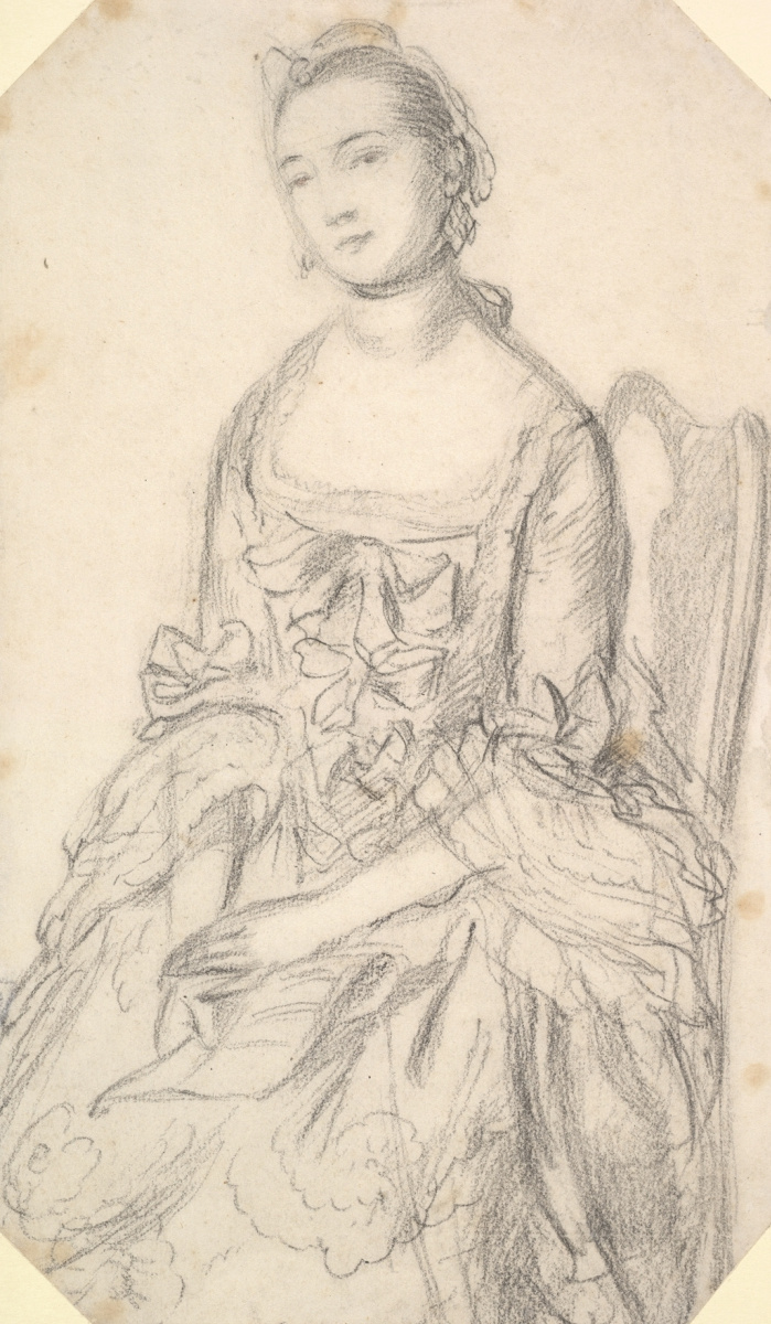 Thomas Gainsborough. Portrait of sitting young woman