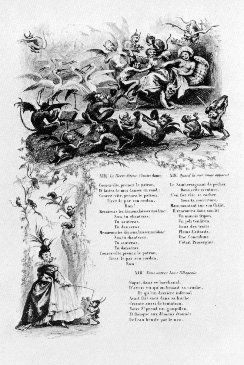 Шарль-Франсуа Добиньи. Иллюстрации к сборнику Французские народные песни и песенки: Искушение святого Антония, третья виньетка