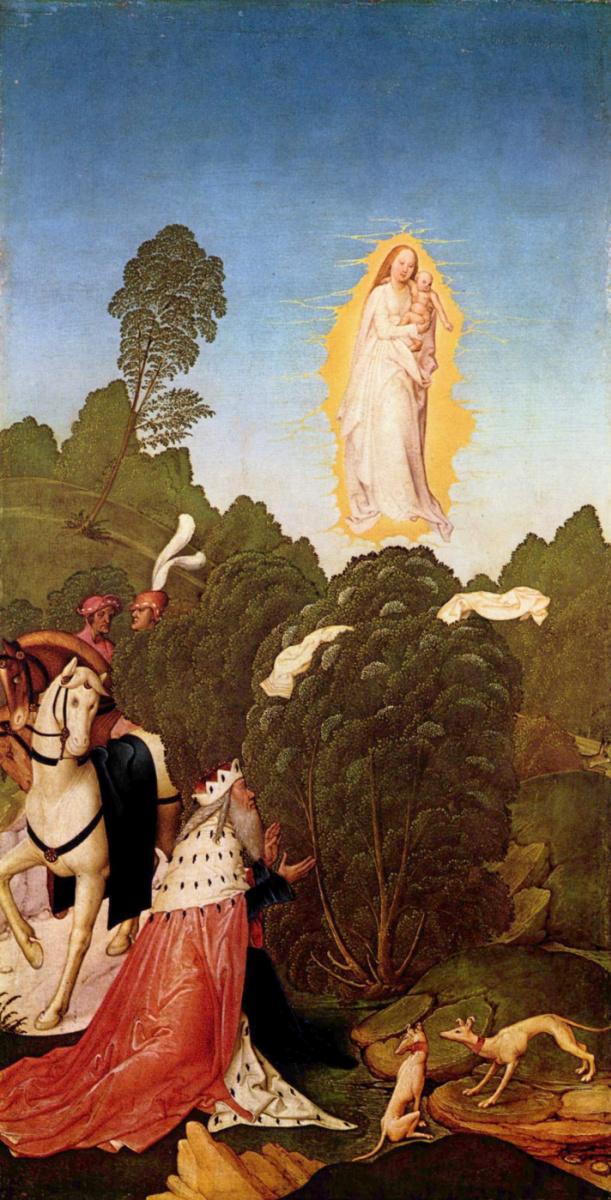 Рюланд Фрюауф Младший. Алтарь св. Леопольда, боковая створка: Нахождение покрова