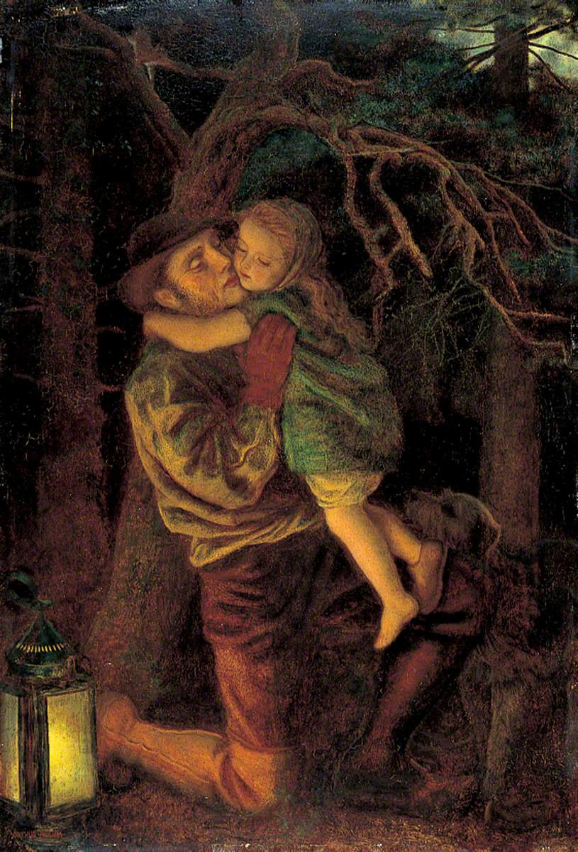 Arthur Hughes. Lost Child (Night Forest Scene)