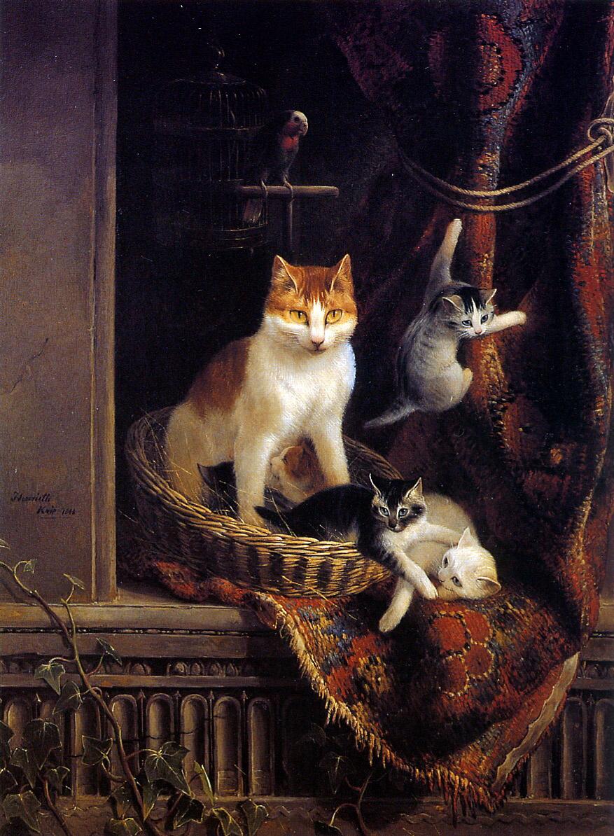 Генриетта Роннер-Книп. Кошка и игращие котята