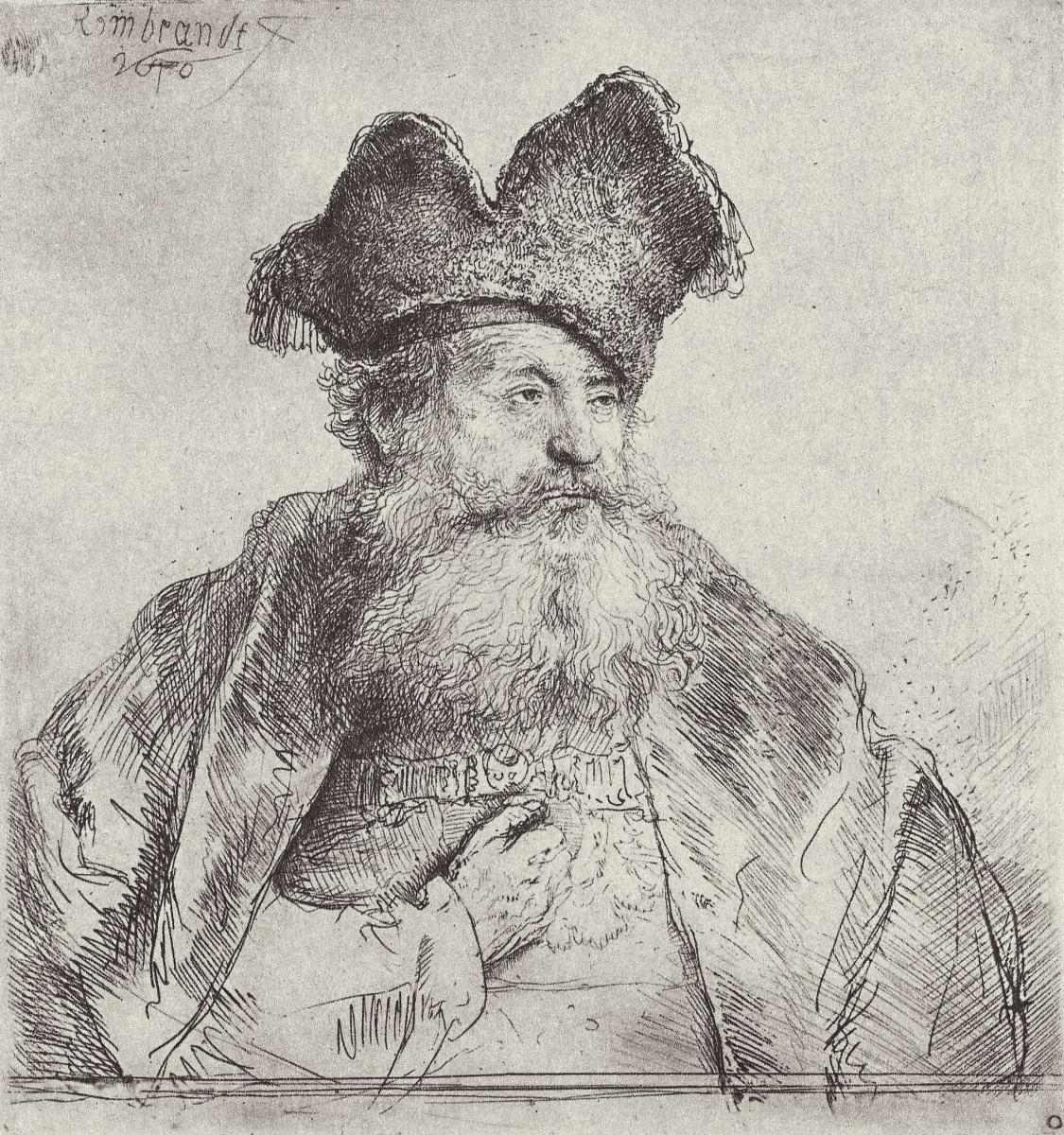 Рембрандт Харменс ван Рейн. Портрет старика в раздвоенной папахе
