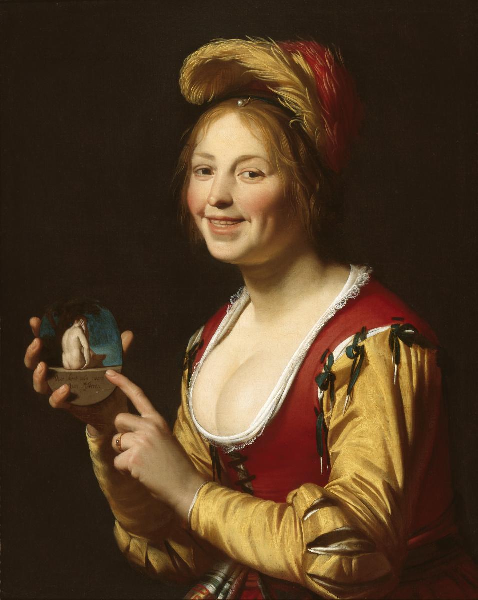 Геррит ван Хонтхорст. Улыбающаяся куртизанка с непристойным изображением в руках