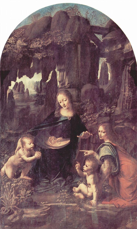Леонардо да Винчи. Мадонна в гроте, сцена: Мария с младенцем Христом, младенецем Иоанном Крестителем и ангелом