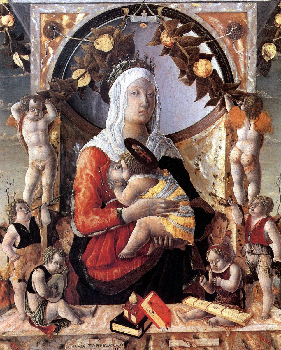 Марко Дзоппо. Мадонна с младенцем в окружении восьми ангелов