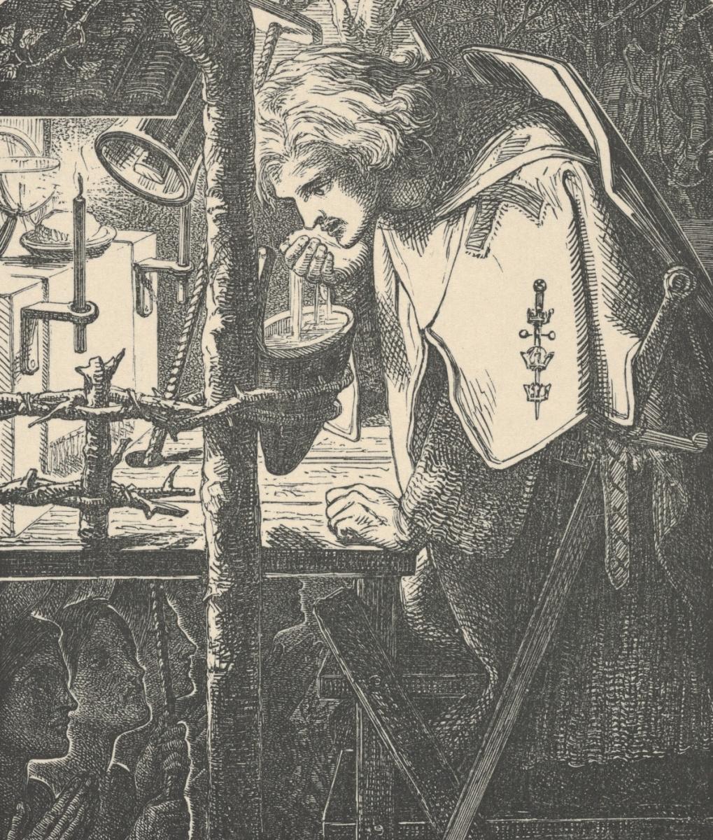 Данте Габриэль Россетти. Сэр Галахад у разрушенной часовни. Иллюстрация к поэзии Теннисона