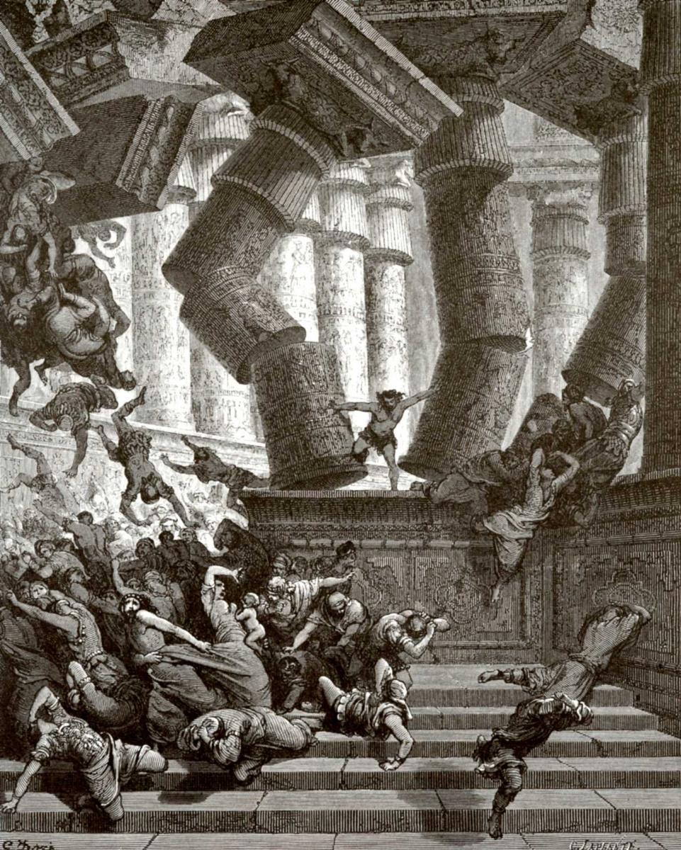 Поль Гюстав Доре. Иллюстрация к Библии: смерть Самсона