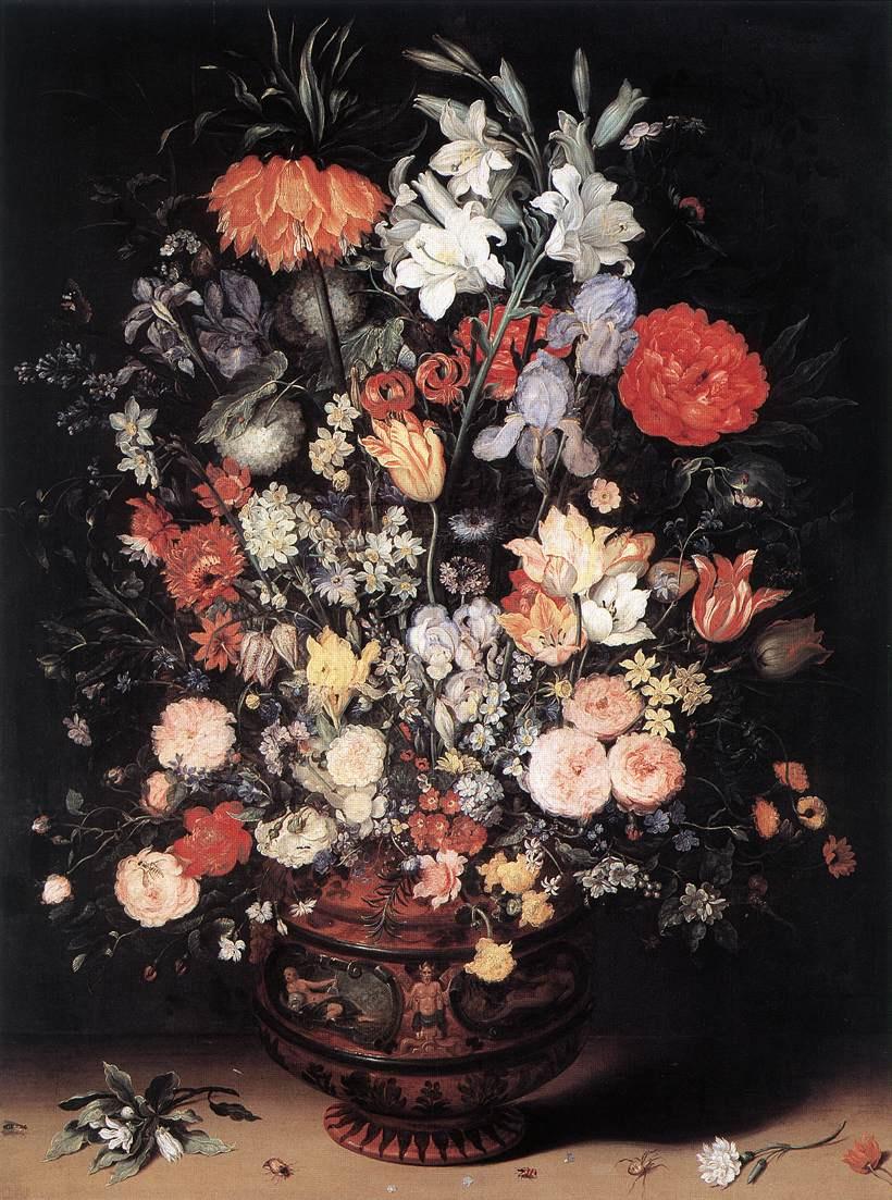 Jan Bruegel The Elder. Flowers in a wooden vessel