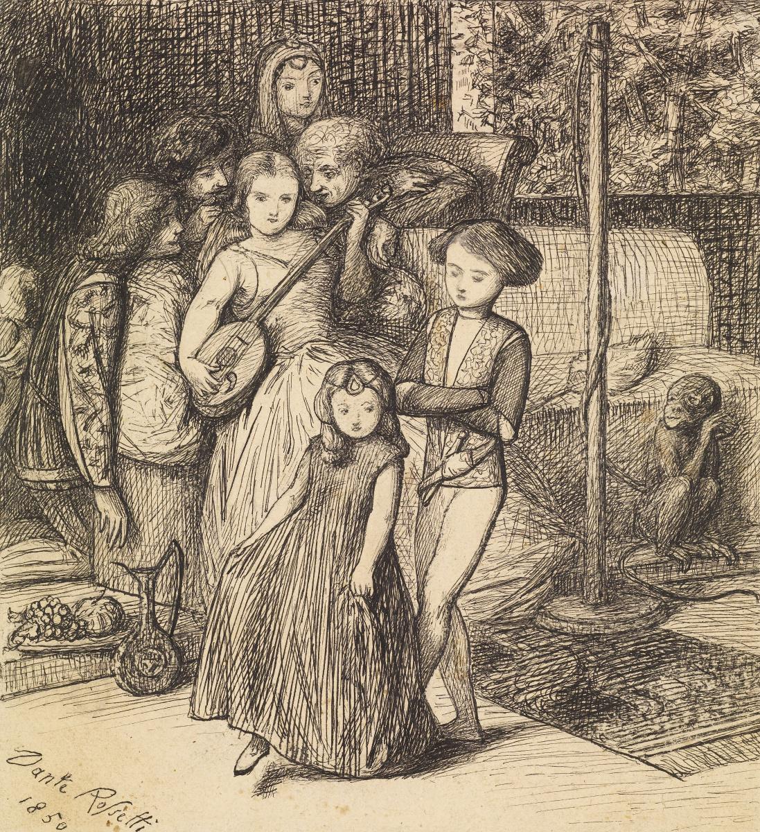 """Данте Габриэль Россетти. Танцы под лютню. Эскиз для картины """"Семья Борджиа"""""""