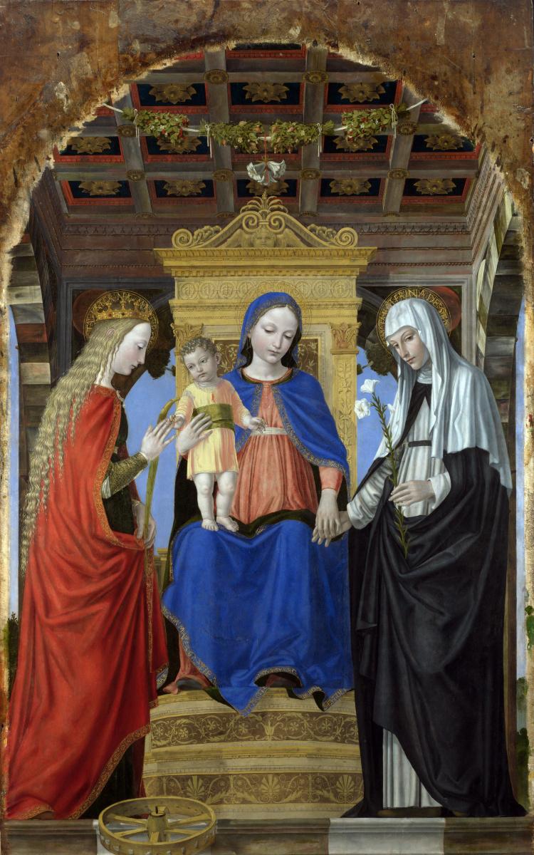 Амброджо  Бергоньоне. Дева с младенцем и святыми